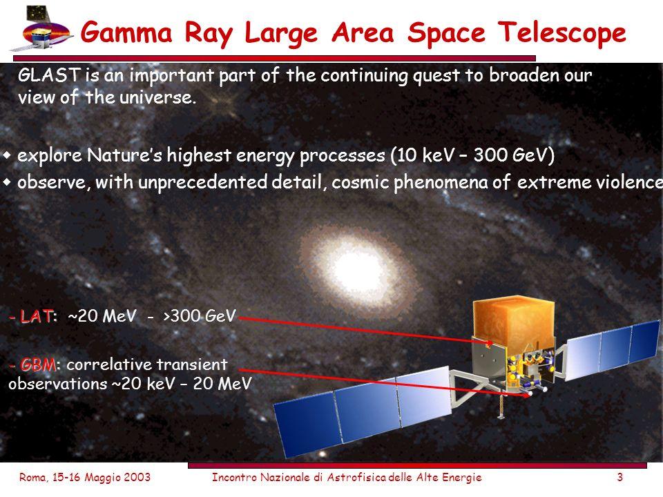 Roma, 15-16 Maggio 2003Incontro Nazionale di Astrofisica delle Alte Energie3 Gamma Ray Large Area Space Telescope GLAST is an important part of the co