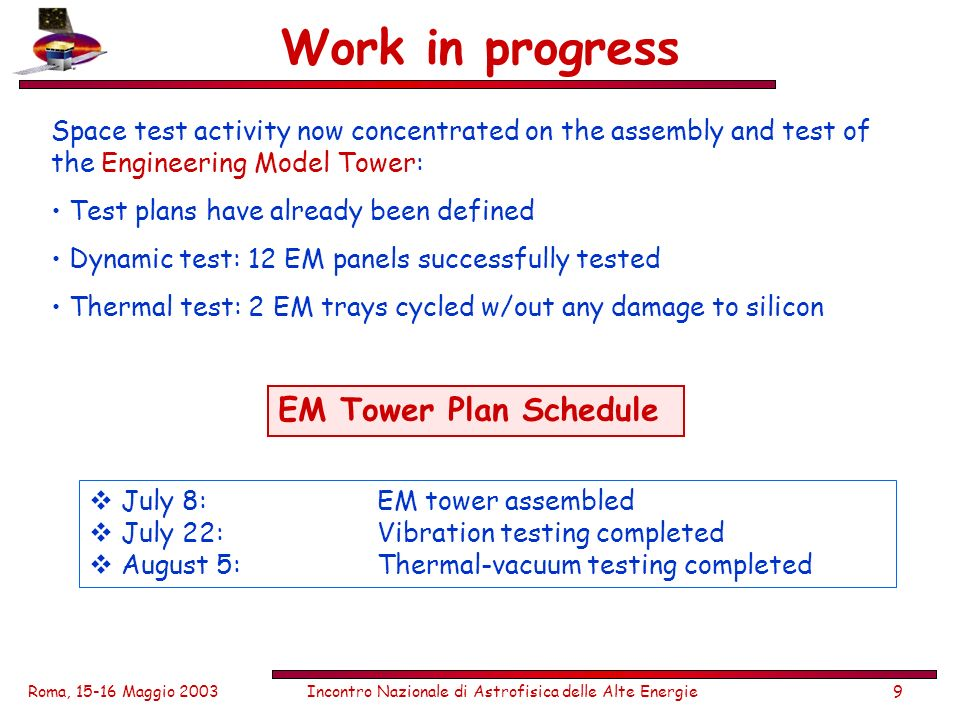 Roma, 15-16 Maggio 2003Incontro Nazionale di Astrofisica delle Alte Energie9 Work in progress Space test activity now concentrated on the assembly and test of the Engineering Model Tower: Test plans have already been defined Dynamic test: 12 EM panels successfully tested Thermal test: 2 EM trays cycled w/out any damage to silicon EM Tower Plan Schedule July 8:EM tower assembled July 22:Vibration testing completed August 5:Thermal-vacuum testing completed