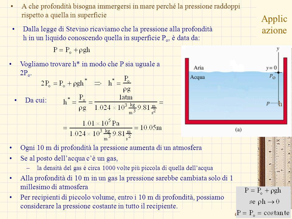 G.M. - Edile A 2002/03 Applic azione A che profondità bisogna immergersi in mare perché la pressione raddoppi rispetto a quella in superficie Vogliamo