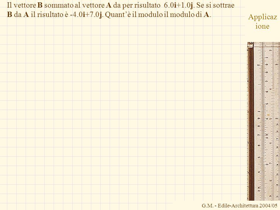 G.M. - Edile-Architettura 2004/05 Applicaz ione Il vettore B sommato al vettore A da per risultato 6.0i+1.0j. Se si sottrae B da A il risultato è -4.0