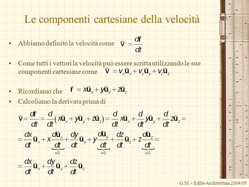 Le componenti cartesiane della velocità Abbiamo definito la velocità come Come tutti i vettori la velocità può essere scritta utilizzando le sue compo