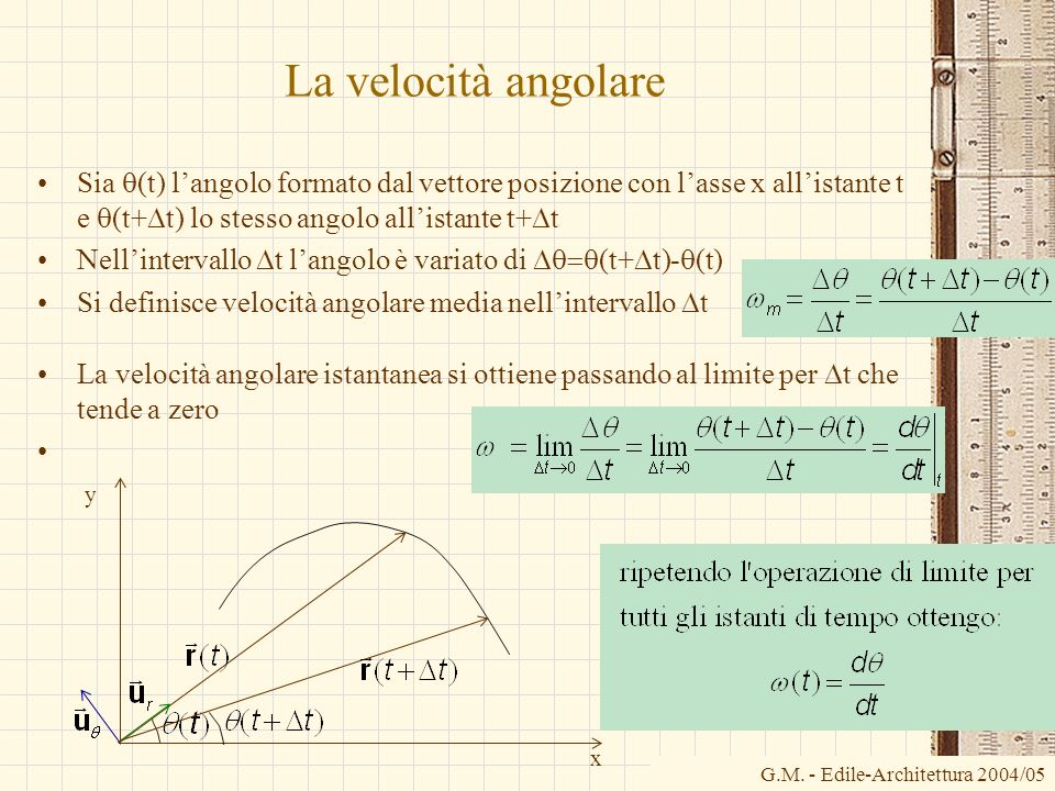 La velocità angolare Sia (t) langolo formato dal vettore posizione con lasse x allistante t e (t+ t) lo stesso angolo allistante t+ t Nellintervallo t