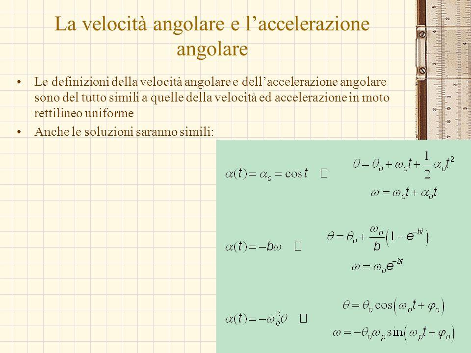 La velocità angolare e laccelerazione angolare Le definizioni della velocità angolare e dellaccelerazione angolare sono del tutto simili a quelle dell