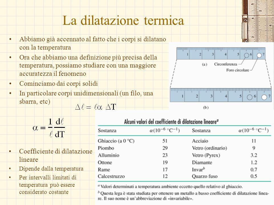 G.M. - Edile A 2002/03 La dilatazione termica Abbiamo già accennato al fatto che i corpi si dilatano con la temperatura Ora che abbiamo una definizion