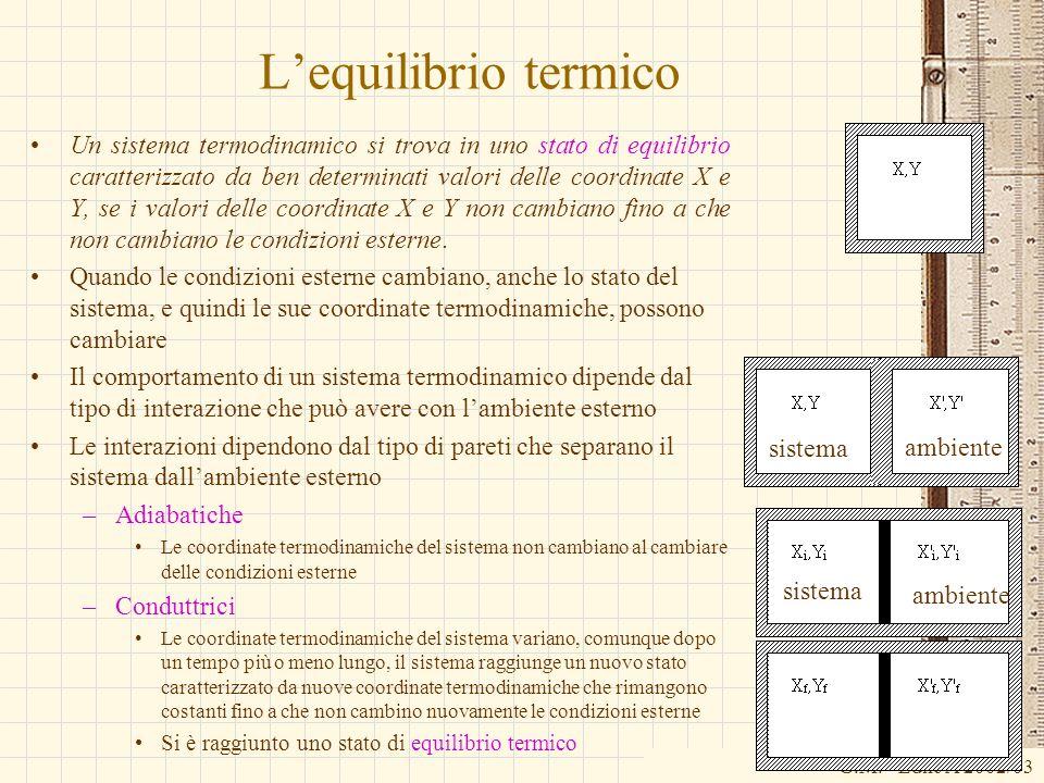 G.M. - Edile A 2002/03 Lequilibrio termico Un sistema termodinamico si trova in uno stato di equilibrio caratterizzato da ben determinati valori delle