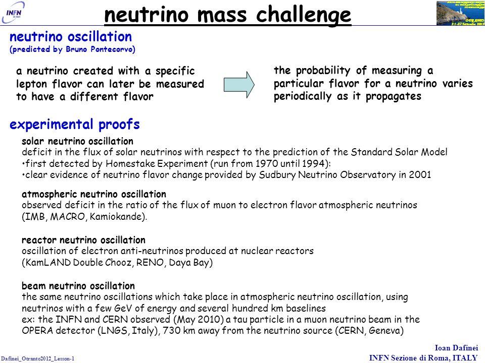 Dafinei_Otranto2012_Lesson-1 Ioan Dafinei INFN Sezione di Roma, ITALY OTRANTO 21-27 Settembre 2012 XXIV SEMINARIO NAZIONALE Di FISICA NUCLEARE E SUBNUCLEARE neutrino mass challenge neutrino oscillation implies that the neutrino has a non-zero mass which is not provided by the original Standard Model