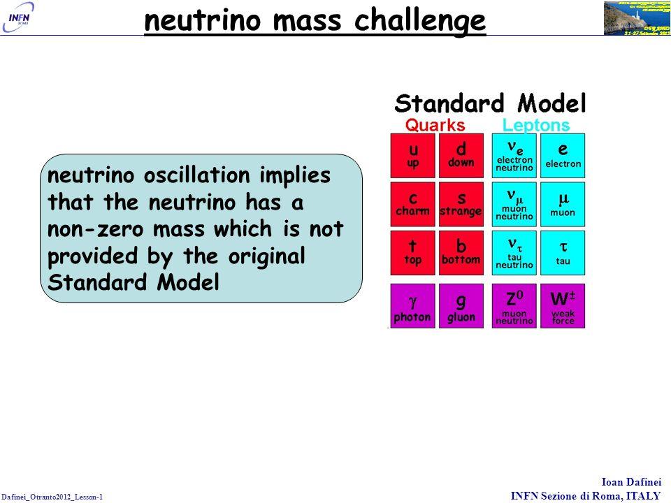 Dafinei_Otranto2012_Lesson-1 Ioan Dafinei INFN Sezione di Roma, ITALY OTRANTO 21-27 Settembre 2012 XXIV SEMINARIO NAZIONALE Di FISICA NUCLEARE E SUBNUCLEARE neutrino mass challenge neutrino oscillation implies that the neutrino has a non-zero mass which is not provided by the original Standard Model the small stump overturns the large carriage… .