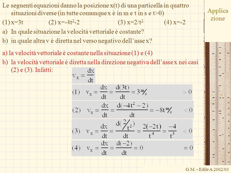 G.M. - Edile A 2002/03 Applica zione Le seguenti equazioni danno la posizione x(t) di una particella in quattro situazioni diverse (in tutte comunque