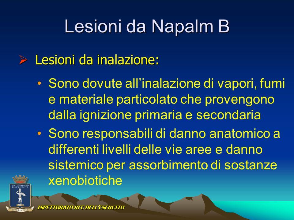 Lesioni da Napalm B Sono dovute allinalazione di vapori, fumi e materiale particolato che provengono dalla ignizione primaria e secondaria Sono respon