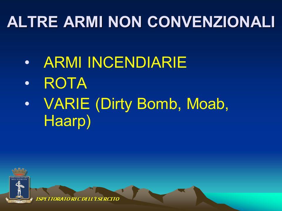 ALTRE ARMI NON CONVENZIONALI ARMI INCENDIARIE ROTA VARIE (Dirty Bomb, Moab, Haarp) ISPETTORATO RFC DELLESERCITO