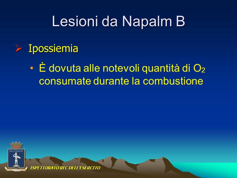 Lesioni da Napalm B È dovuta alle notevoli quantità di O 2 consumate durante la combustione Ipossiemia Ipossiemia ISPETTORATO RFC DELLESERCITO
