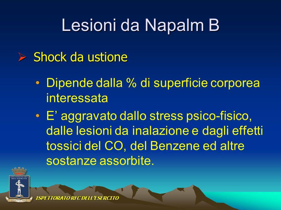 Lesioni da Napalm B Dipende dalla % di superficie corporea interessata E aggravato dallo stress psico-fisico, dalle lesioni da inalazione e dagli effe