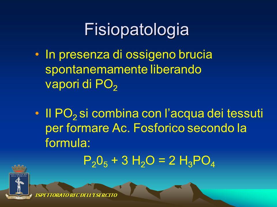Fisiopatologia In presenza di ossigeno brucia spontanemamente liberando vapori di PO 2 Il PO 2 si combina con lacqua dei tessuti per formare Ac. Fosfo