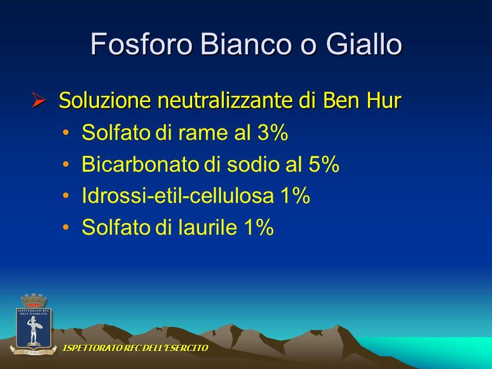 Fosforo Bianco o Giallo Solfato di rame al 3% Bicarbonato di sodio al 5% Idrossi-etil-cellulosa 1% Solfato di laurile 1% Soluzione neutralizzante di B