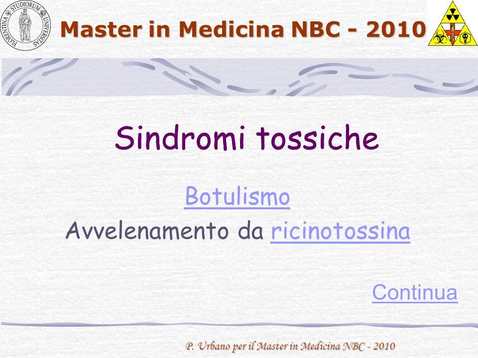 P. Urbano per il Master in Medicina NBC - 2010 Master in Medicina NBC - 2010 Sindromi tossiche Continua Sindromi tossiche Botulismo Avvelenamento da r