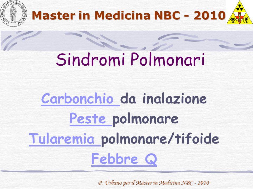 P. Urbano per il Master in Medicina NBC - 2010 Master in Medicina NBC - 2010 Sindromi Polmonari Carbonchio Carbonchio da inalazione Peste Peste polmon