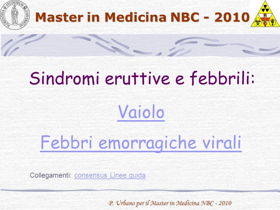 P. Urbano per il Master in Medicina NBC - 2010 Master in Medicina NBC - 2010 Sindromi eruttive e febbrili: Vaiolo Febbri emorragiche virali Collegamen