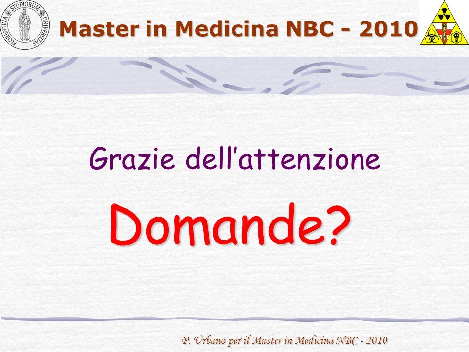 P. Urbano per il Master in Medicina NBC - 2010 Master in Medicina NBC - 2010 Grazie dellattenzione Domande?