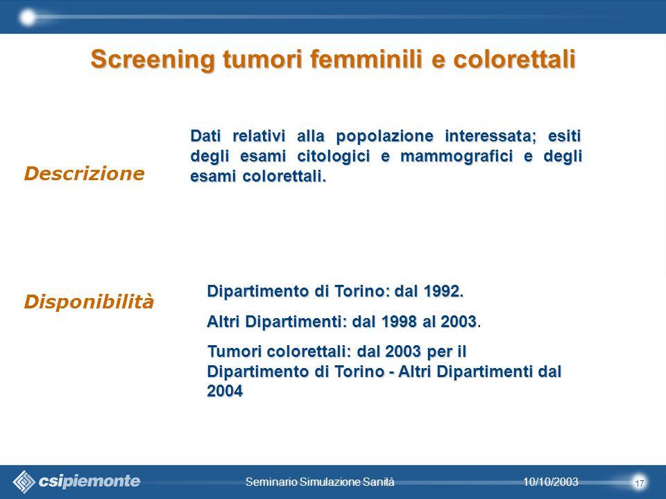17 10/10/2003Seminario Simulazione Sanità Dati relativi alla popolazione interessata; esiti degli esami citologici e mammografici e degli esami colorettali.