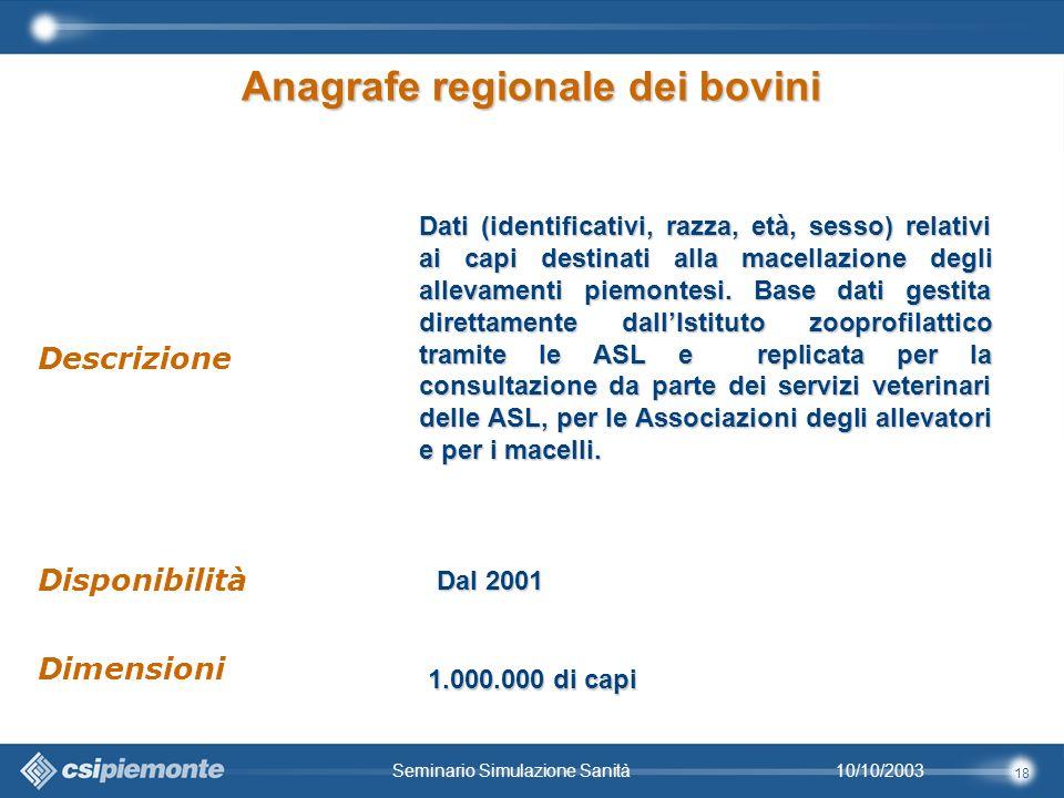 18 10/10/2003Seminario Simulazione Sanità Dati (identificativi, razza, età, sesso) relativi ai capi destinati alla macellazione degli allevamenti piemontesi.