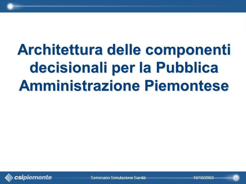 22 10/10/2003Seminario Simulazione Sanità Architettura delle componenti decisionali per la Pubblica Amministrazione Piemontese