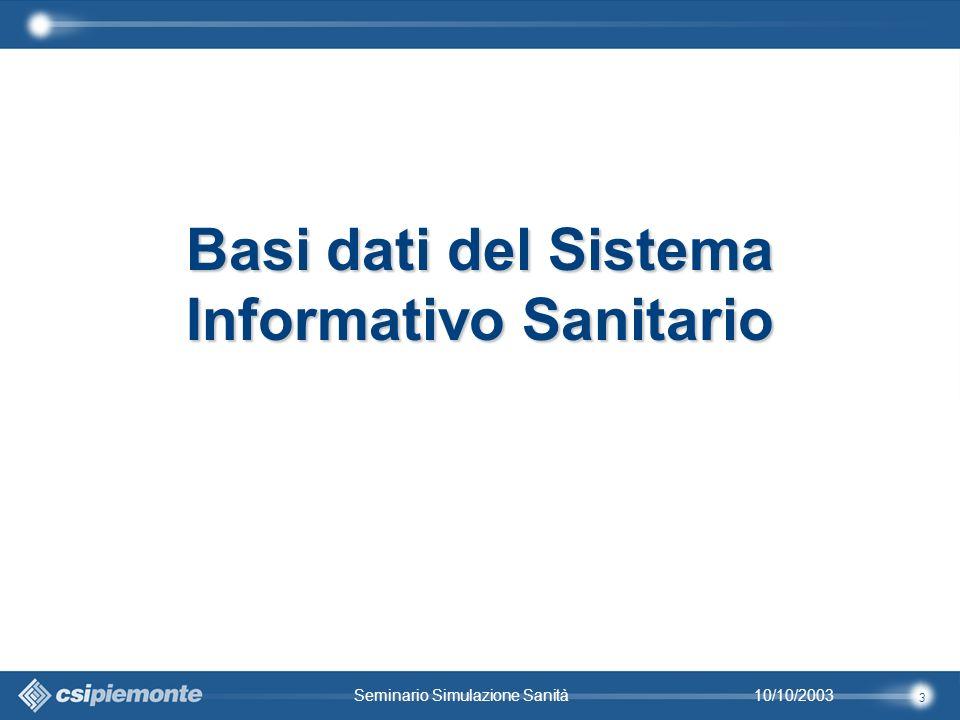 3 10/10/2003Seminario Simulazione Sanità Basi dati del Sistema Informativo Sanitario