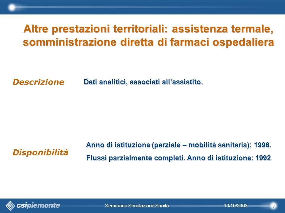 7 10/10/2003Seminario Simulazione Sanità Dati analitici, associati allassistito.