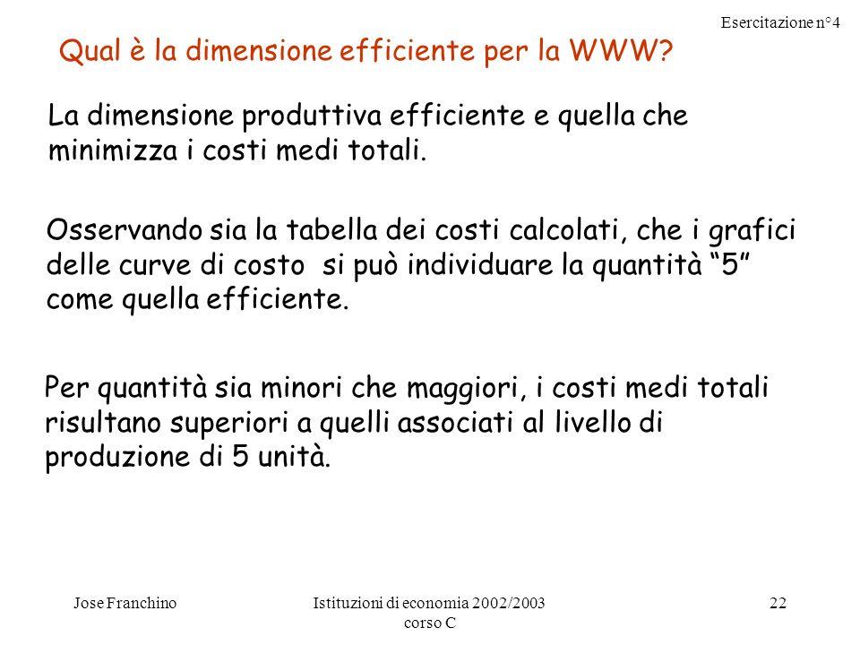 Esercitazione n°4 Jose FranchinoIstituzioni di economia 2002/2003 corso C 22 Qual è la dimensione efficiente per la WWW.