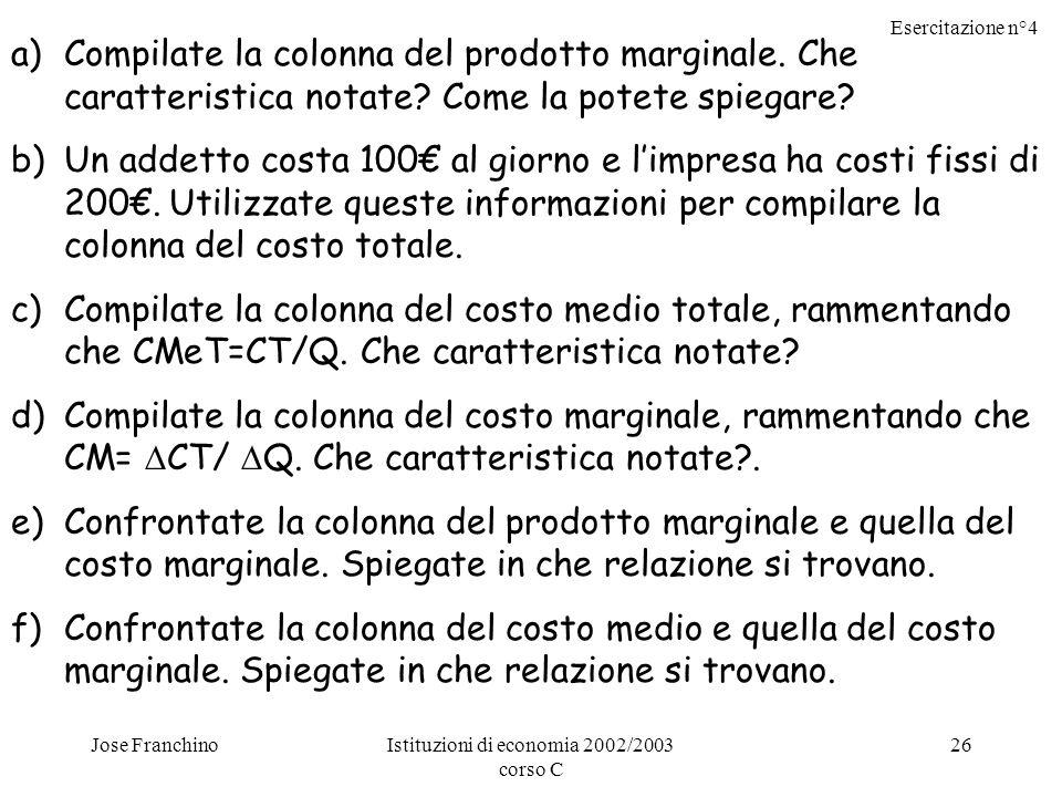 Esercitazione n°4 Jose FranchinoIstituzioni di economia 2002/2003 corso C 26 a)Compilate la colonna del prodotto marginale.