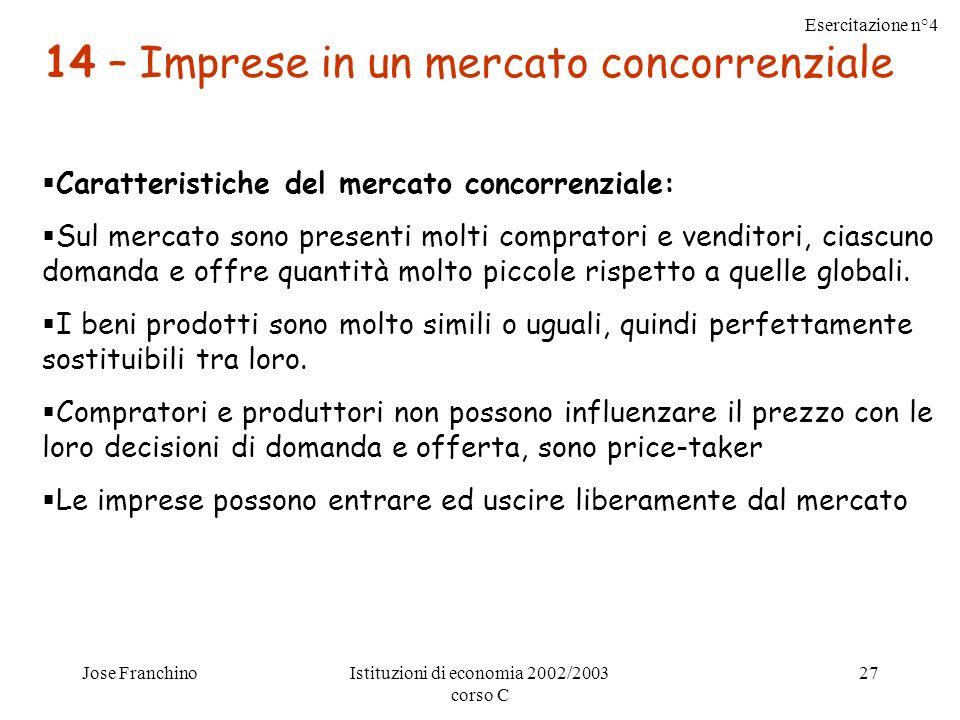Esercitazione n°4 Jose FranchinoIstituzioni di economia 2002/2003 corso C 27 14 – Imprese in un mercato concorrenziale Caratteristiche del mercato concorrenziale: Sul mercato sono presenti molti compratori e venditori, ciascuno domanda e offre quantità molto piccole rispetto a quelle globali.