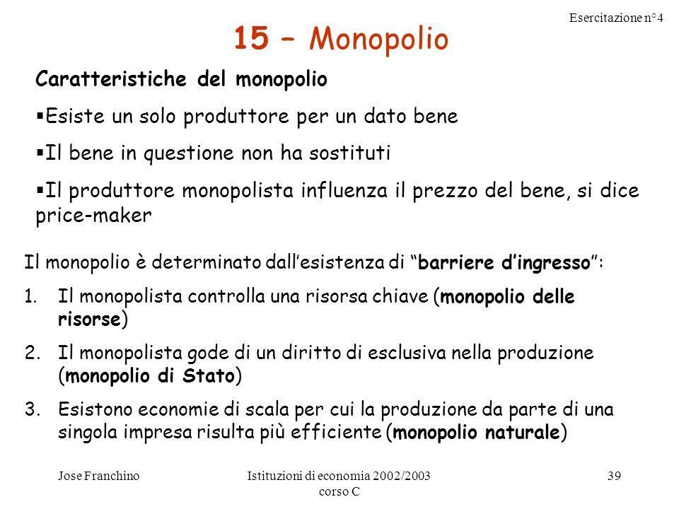 Esercitazione n°4 Jose FranchinoIstituzioni di economia 2002/2003 corso C 39 15 – Monopolio Caratteristiche del monopolio Esiste un solo produttore per un dato bene Il bene in questione non ha sostituti Il produttore monopolista influenza il prezzo del bene, si dice price-maker Il monopolio è determinato dallesistenza di barriere dingresso: 1.Il monopolista controlla una risorsa chiave (monopolio delle risorse) 2.Il monopolista gode di un diritto di esclusiva nella produzione (monopolio di Stato) 3.Esistono economie di scala per cui la produzione da parte di una singola impresa risulta più efficiente (monopolio naturale)