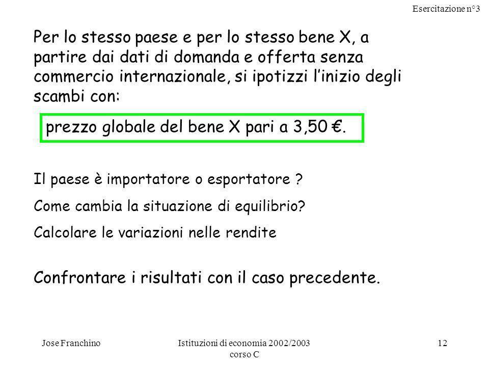 Esercitazione n°3 Jose FranchinoIstituzioni di economia 2002/2003 corso C 12 Per lo stesso paese e per lo stesso bene X, a partire dai dati di domanda