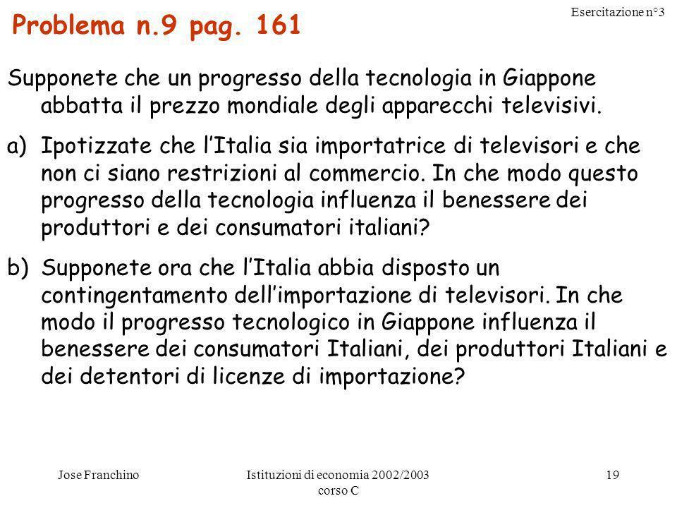 Esercitazione n°3 Jose FranchinoIstituzioni di economia 2002/2003 corso C 20 10 – Esternalità: Rappresentano leffetto dellazione di un soggetto economico sul benessere di altri soggetti non coinvolti.