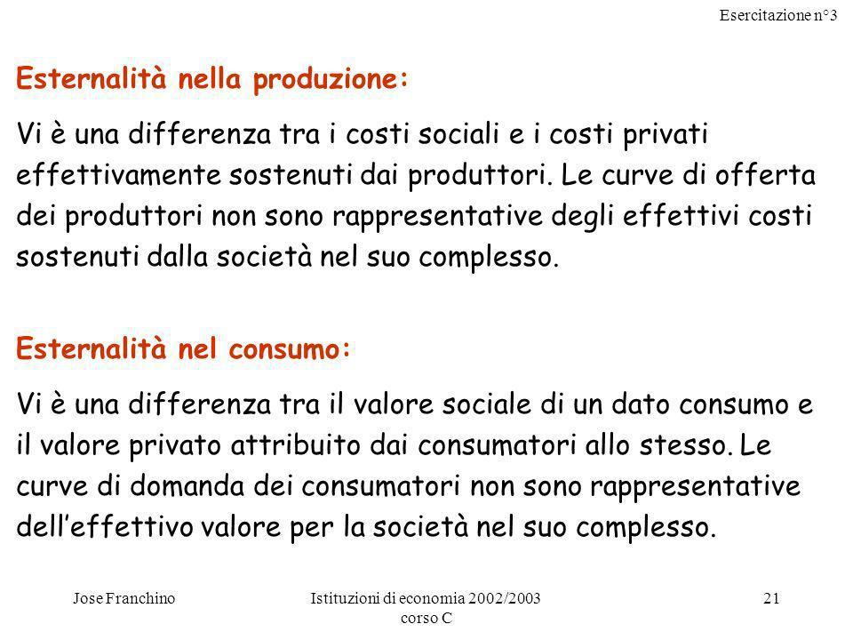 Esercitazione n°3 Jose FranchinoIstituzioni di economia 2002/2003 corso C 21 Esternalità nella produzione: Vi è una differenza tra i costi sociali e i costi privati effettivamente sostenuti dai produttori.