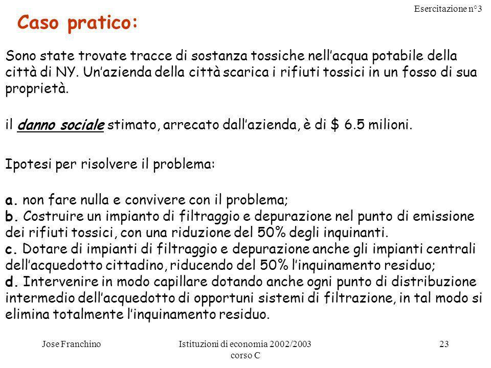 Esercitazione n°3 Jose FranchinoIstituzioni di economia 2002/2003 corso C 23 Caso pratico: Sono state trovate tracce di sostanza tossiche nellacqua po