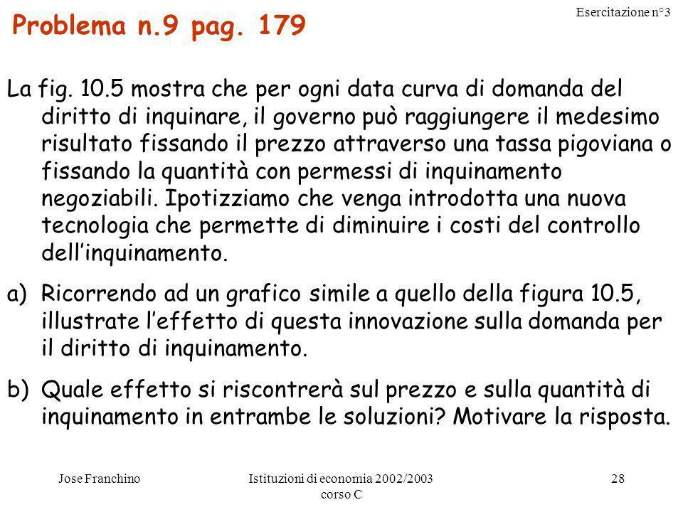 Esercitazione n°3 Jose FranchinoIstituzioni di economia 2002/2003 corso C 28 Problema n.9 pag. 179 La fig. 10.5 mostra che per ogni data curva di doma