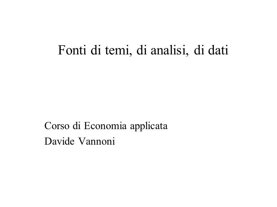 Fonti di temi, di analisi, di dati Corso di Economia applicata Davide Vannoni