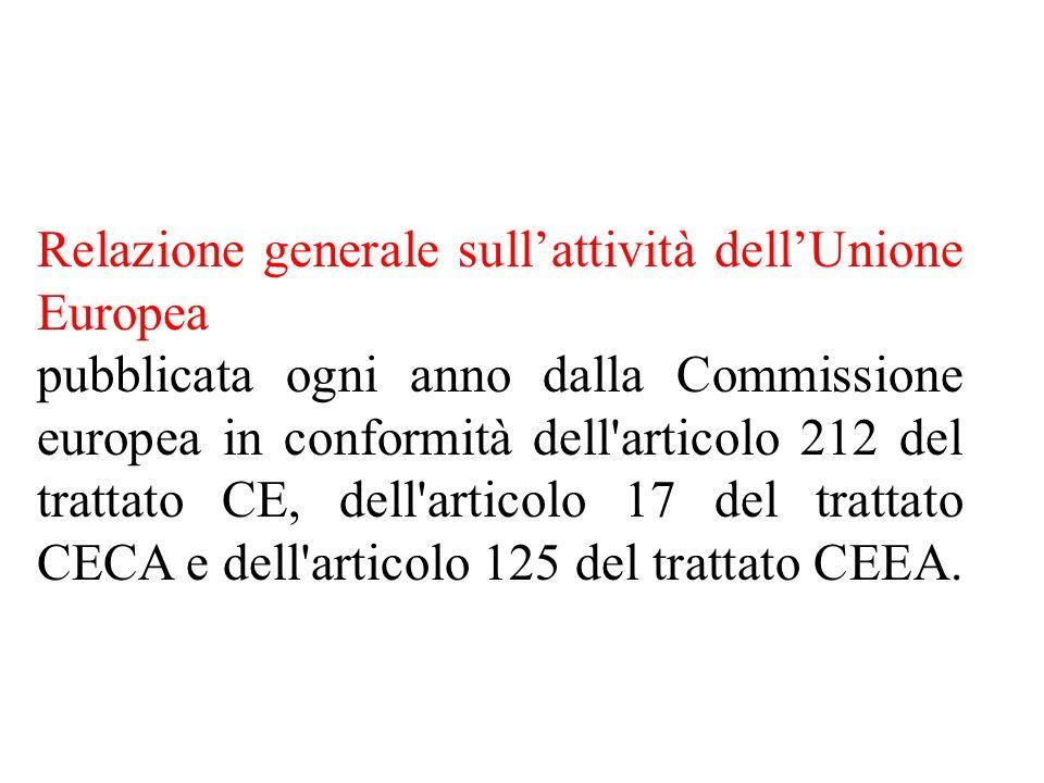 Relazione generale sullattività dellUnione Europea pubblicata ogni anno dalla Commissione europea in conformità dell articolo 212 del trattato CE, dell articolo 17 del trattato CECA e dell articolo 125 del trattato CEEA.