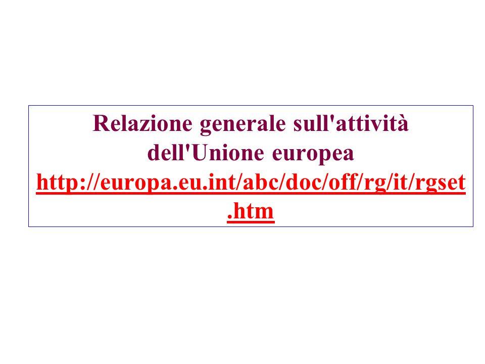 Relazione generale sull'attività dell'Unione europea http://europa.eu.int/abc/doc/off/rg/it/rgset.htm http://europa.eu.int/abc/doc/off/rg/it/rgset.htm