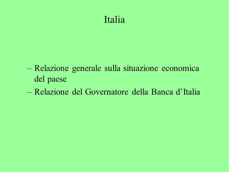 Italia –Relazione generale sulla situazione economica del paese –Relazione del Governatore della Banca dItalia