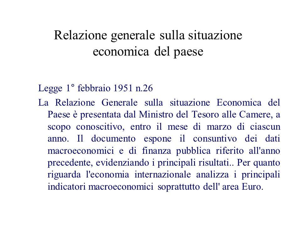 Documento di programmazione economico – finanziaria Articolo 3 della Legge 5 agosto 1978, n.