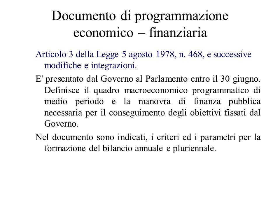 Relazione previsionale e programmatica –Il documento contiene analisi di pre-consuntivo delleconomia italiana relative allanno in corso e previsioni macroeconomiche e di finanza pubblica per lanno successivo e per il medio termine.