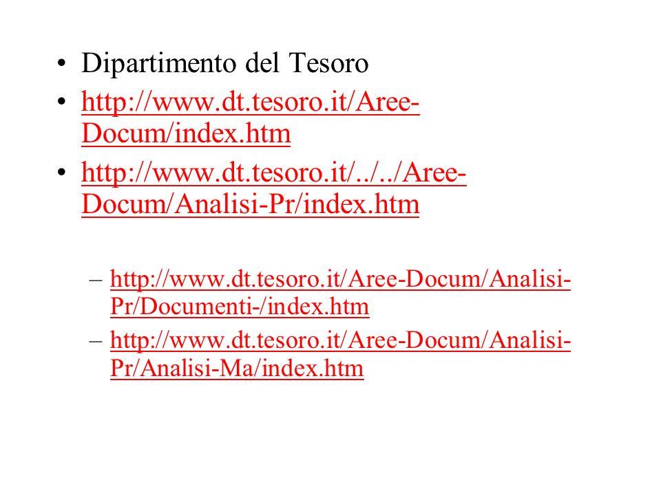 Dipartimento del Tesoro http://www.dt.tesoro.it/Aree- Docum/index.htmhttp://www.dt.tesoro.it/Aree- Docum/index.htm http://www.dt.tesoro.it/../../Aree-