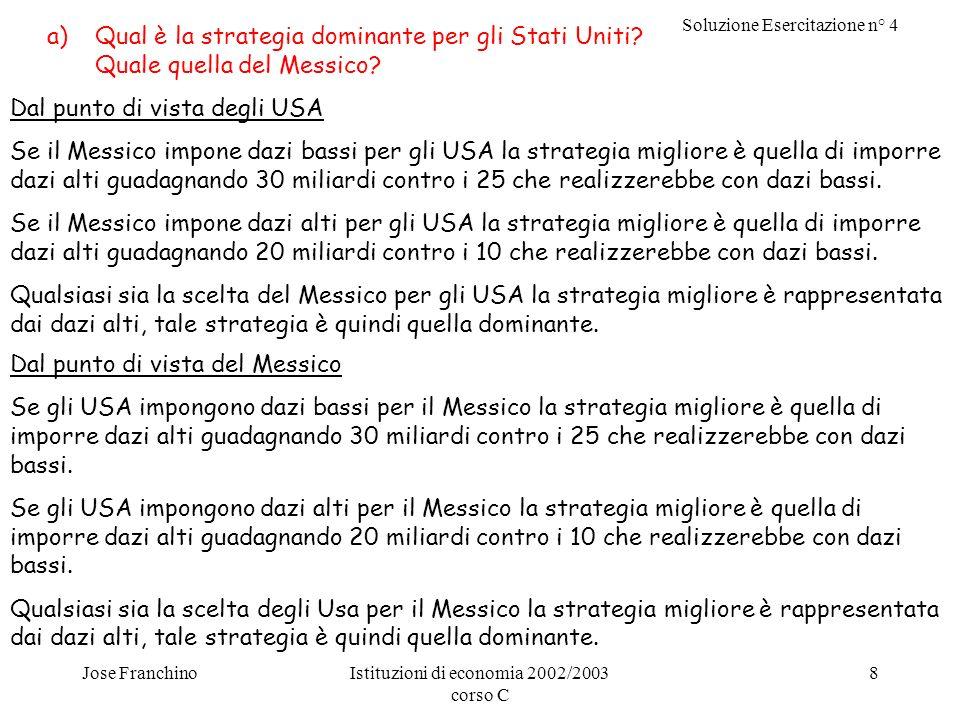 Soluzione Esercitazione n° 4 Jose FranchinoIstituzioni di economia 2002/2003 corso C 8 a)Qual è la strategia dominante per gli Stati Uniti.