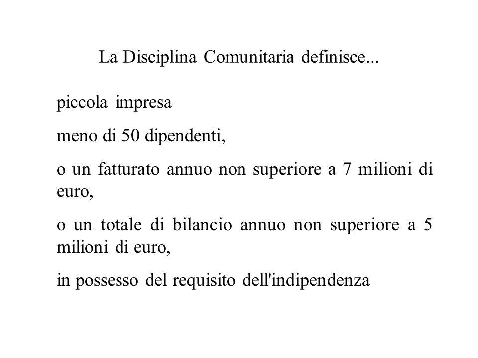 La Disciplina Comunitaria definisce... piccola impresa meno di 50 dipendenti, o un fatturato annuo non superiore a 7 milioni di euro, o un totale di b