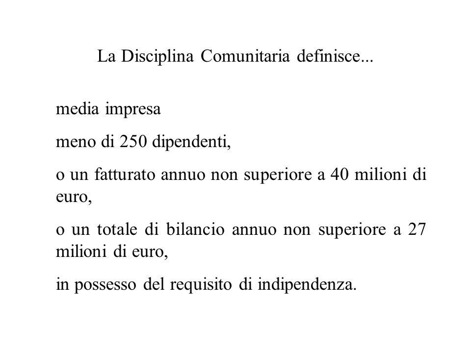 La Disciplina Comunitaria definisce... media impresa meno di 250 dipendenti, o un fatturato annuo non superiore a 40 milioni di euro, o un totale di b