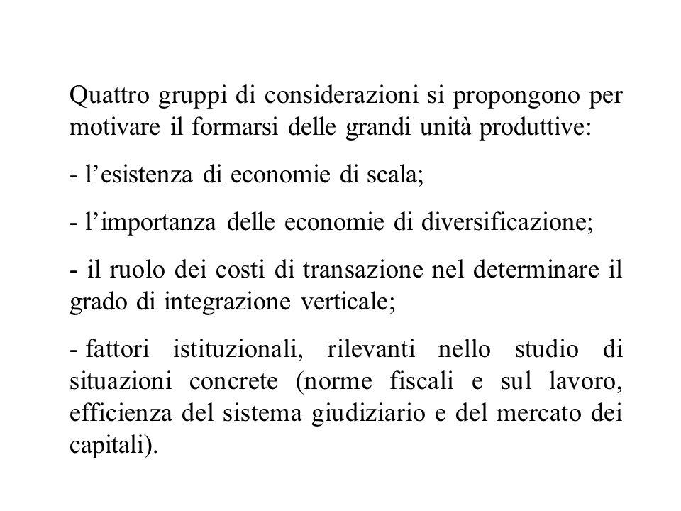 Quattro gruppi di considerazioni si propongono per motivare il formarsi delle grandi unità produttive: - lesistenza di economie di scala; - limportanz