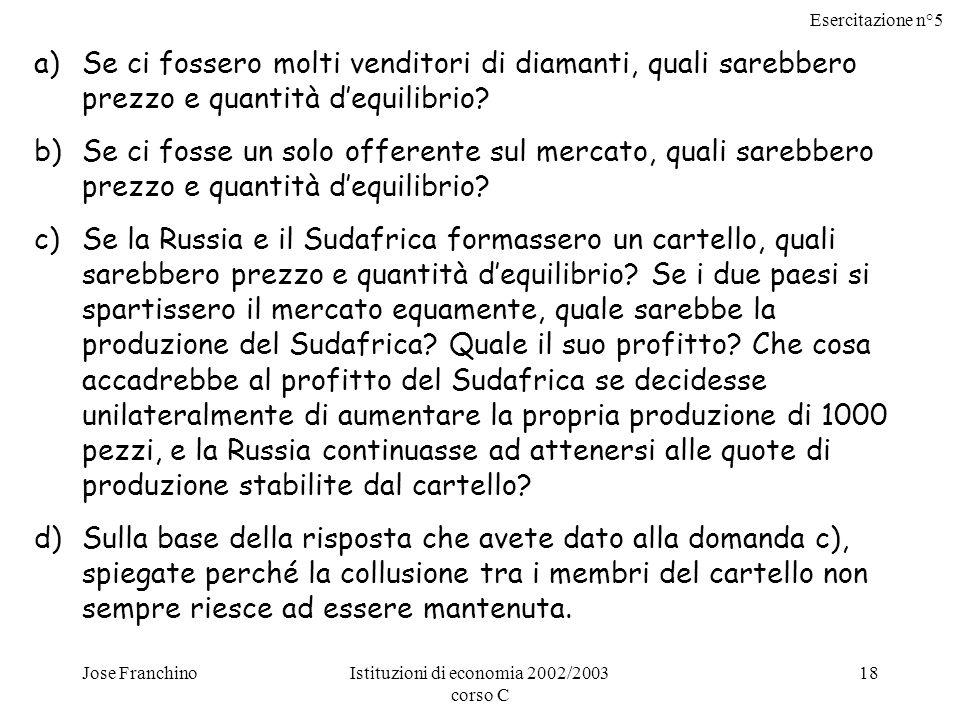 Esercitazione n°5 Jose FranchinoIstituzioni di economia 2002/2003 corso C 18 a)Se ci fossero molti venditori di diamanti, quali sarebbero prezzo e quantità dequilibrio.