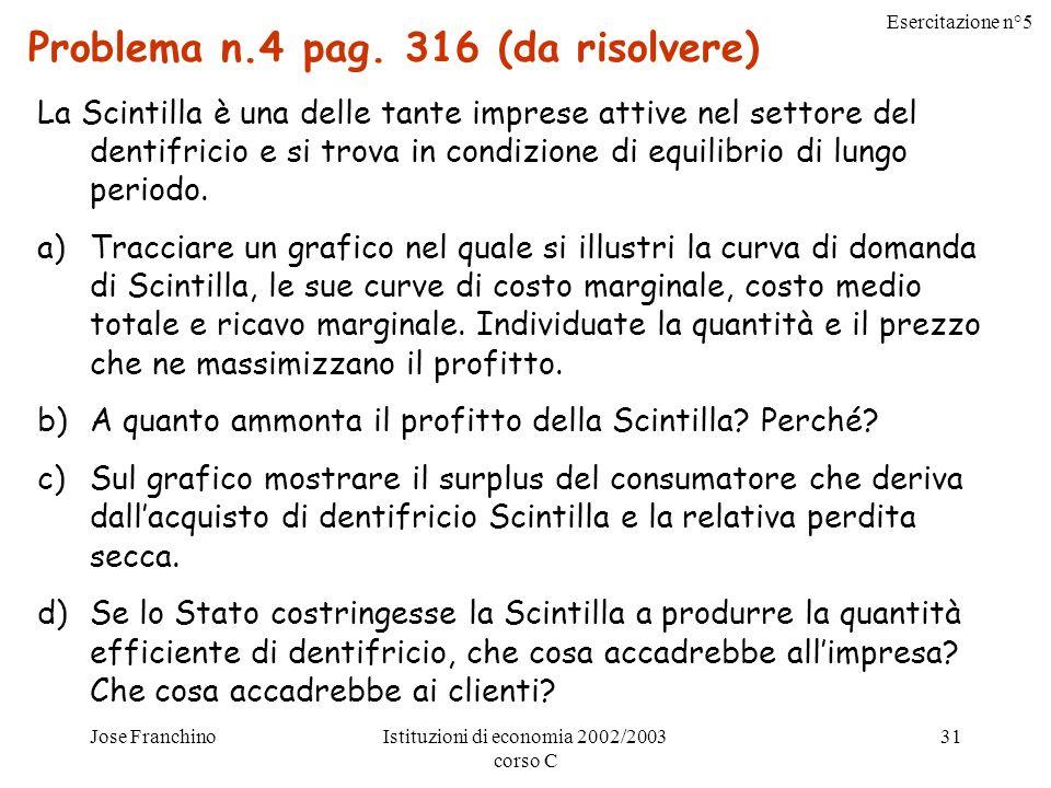 Esercitazione n°5 Jose FranchinoIstituzioni di economia 2002/2003 corso C 31 Problema n.4 pag.