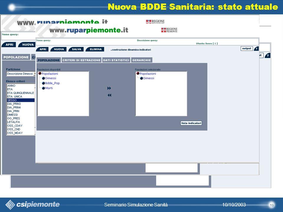 19 10/10/2003Seminario Simulazione Sanità Nuova BDDE Sanitaria: stato attuale